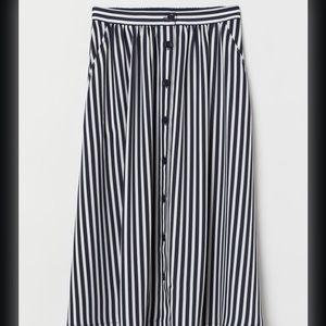H&M Navy/White striped circle skirt